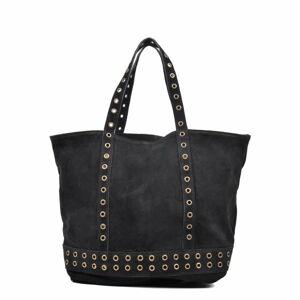 Černá kožená kabelka Luisa Vannini, 33 x 50 cm