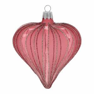 Sada 3 tmavě růžových vánočních ozdob Ego Dekor Heart