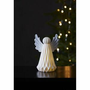 Bílá keramická vánoční světelná LED dekorace Star Trading Vinter,výška18cm