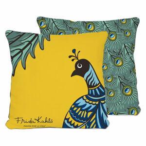 Žluto-zelený polštář Madre Selva Peacock,45x45cm