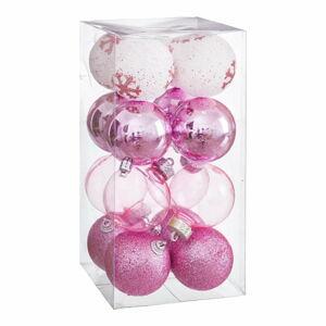 Sada 16 vánočních ozdob v růžové barvě Unimasa Foam, ø 6 cm
