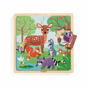 Dřevěné puzzle Djeco Lesní zvířátka