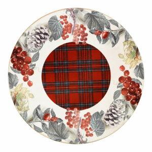 Kulatý keramický servírovací talíř s vánočním motivem Brandani Sottobosco, ⌀ 20 cm
