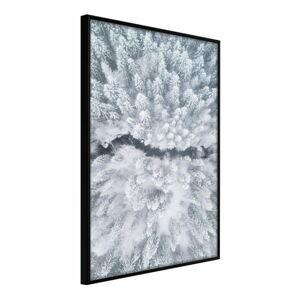 Plakát v rámu Artgeist Winter Forest From a Bird's Eye View, 20 x 30 cm