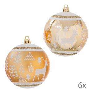 Sada 6 vánočních ozdob ve zlaté barvě Unimasa Deer