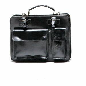 Černá kožená kabelka Luisa Vannini, 17 x 28 cm