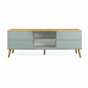 Zelený TV stolek s nohami z dubového dřeva Tenzo Dot, šířka 162 cm
