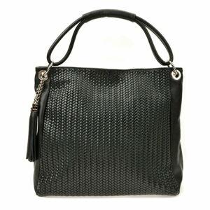 Černá kožená kabelka Luisa Vannini, 45 x 34 cm