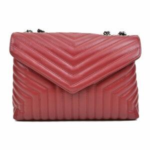 Červená kožená taška přes rameno se 3 kapsami Luisa Vannini