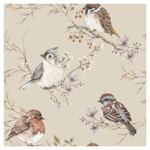 Nástěnná tapeta s motivem ptáčků v béžové barvě Dekornik