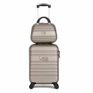 Set béžového skořepinového zavazadla na 4 kolečkách a kosmetického kufříku LPB Aurelia