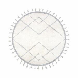 Bílo-šedý bavlněný ručně vyrobený koberec Nattiot,ø120cm