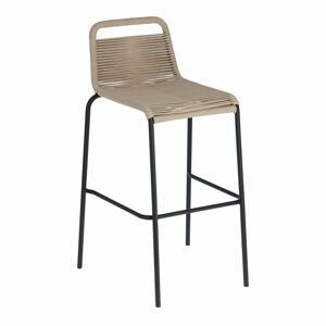 Béžová barová židle s ocelovou konstrukcí La Forma Glenville, výška 74 cm