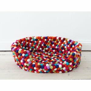 Tmavě červený kuličkový vlněný pelíšek pro domácí zvířata Wooldot Ball Pet Basket, 80 x 60 cm