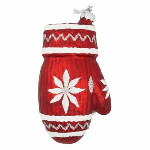 Červená skleněná vánoční ozdoba Green Gate Snowflake