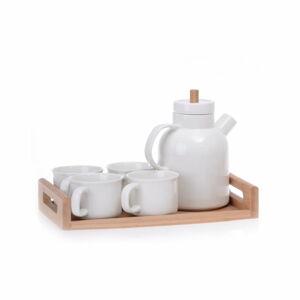 Porcelánový čajový set na bambusovém podnosu Jordan