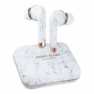 Bezdrátová sluchátka v bílé mramorové barvě Happy Plugs Air 1 Plus In-Ear