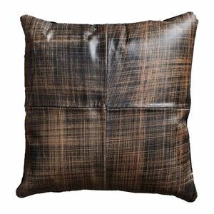Hnědý kožený polštář Fuhrhome Cairo, 45x45cm