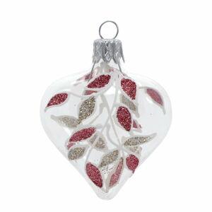 Sada 4 skleněných vánočních ozdob ve zlato-červené barvě Ego Dekor Heart