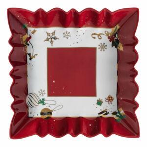 Porcelánový servírovací talíř s vánočním motivem Brandani Alleluia New Bone, délka 23,5 cm
