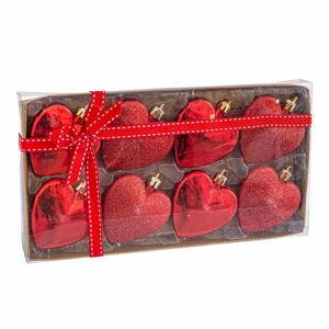 Sada 8 vánočních ozdob ve červené barvě Unimasa Corazón, ø 6 cm