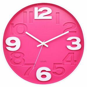 Růžové nástěnné hodiny Postershop Matt,ø30cm