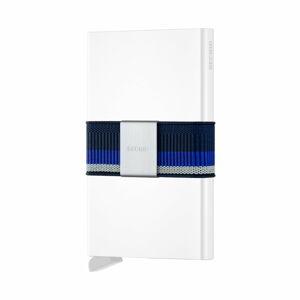 Bílá peněženka s pouzdrem na karty s modrým páskem Secrid
