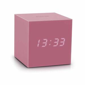 Růžový LED budík Gingko Gravity Cube