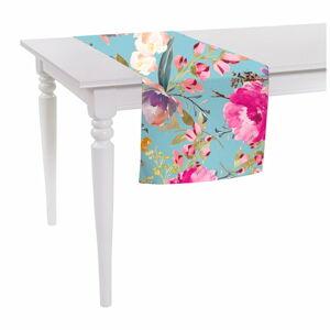 Modrý běhoun na stůl Mike & Co. NEW YORK Butterflies Blossom,140 x40cm