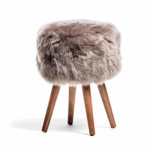 Stolička s hnědým sedákem z ovčí kožešiny Royal Dream, ⌀30cm