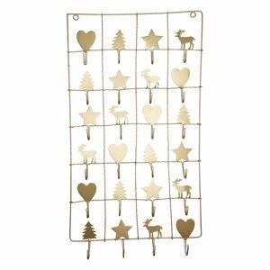 Kovový adventní kalendář ve zlaté barvě Green Gate, délka 71 cm