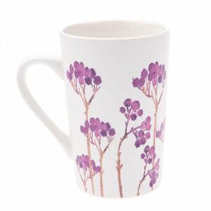 Bílý porcelánový hrneček s fialovým květinovým motivem Dakls, 0,4 l