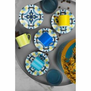 Sada 4 hrnečků s podšálky Kütahya Porselen Geometric,90ml