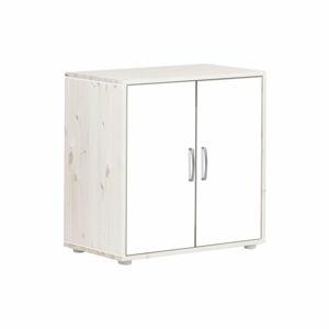 Bílá dětská skříňka s lakovanými dvířky z borovicového dřeva Flexa Classic