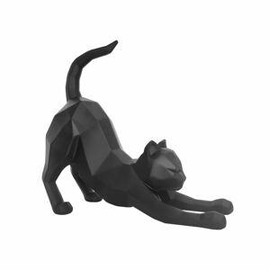 Matně černá soška PT LIVING Origami Stretching Cat,výška30,5cm