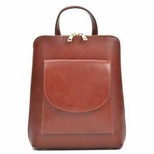 Červenohnědý dámský kožený batoh AnnaLuchini Molly