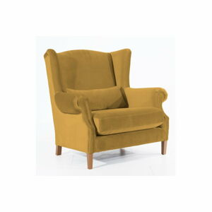 Hořčicově žluté sametové křeslo ušák Max Winzer Harvey Velvet