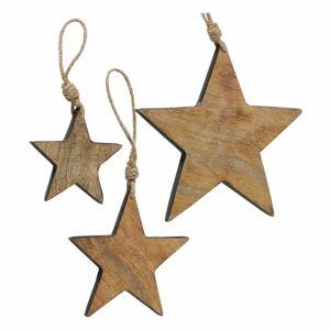 Sada 3 vánočních závěsných dekorací z mangového dřeva Boltze Paimio
