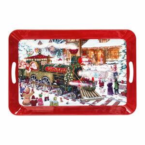 Červený podnos s vánočním motivem Brandani Vassoio, délka 52 cm