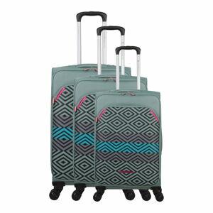 Sada 3 zelených zavazadel na 4 kolečkách Lulucastagnette Peruana