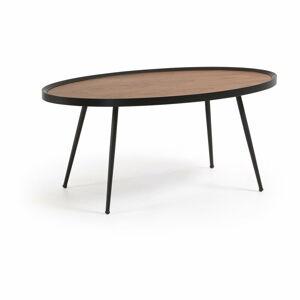 Černý konferenční stolek s deskou v ořechovém dekoru La Forma Kamelia