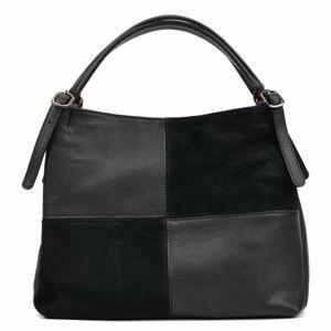 Černá kožená kabelka Carla Ferreri