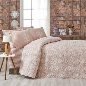 Růžový přehoz přes postel na dvoulůžko s povlaky na polštáře Livia,200x220cm