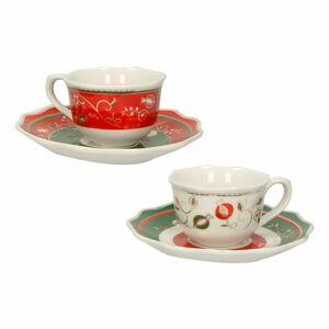 Sada 2 porcelánových hrnků s podšálky Brandani Tempo di Festa