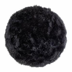 Černý koberec z ovčí kožešiny Royal Dream Zealand,⌀ 70cm