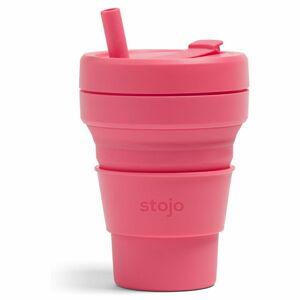 Růžový skládací termohrnek Stojo Biggie Peony, 470 ml