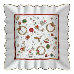 Bílý porcelánový servírovací talíř s vánočním motivem Brandani Alleluia New Bone, délka 23,5 cm