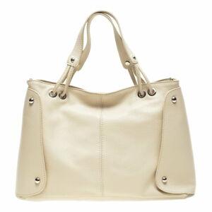 Béžová kožená kabelka Carla Ferreri