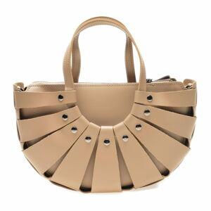 Béžová kožená kabelka Roberta M, 31 x 20 cm