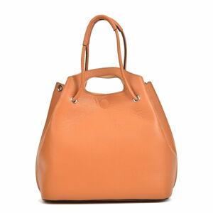 Koňakově hnědá kožená kabelka Mangotti Bags, 46 x 34 cm